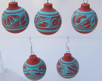 Ornament Southwest Bulb Rustic Turquoise SET OF 5