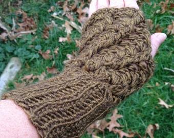 Twisted Stitch Fingerless Gloves, Wrist Warmers, Alpaca Wool, Astral Yarn, Gold Rush, Ready To Ship