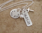 First Communion necklace - Girl's cross, Name and Date necklace - Girl's Baptism - Goddaughter gift - Photo NOT actual size