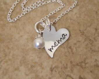 Tiny Mema, Mimi, Nana necklace - Dainty, small Heart and birthstone accent - Personalized jewelry - Photo NOT actual size