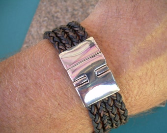 Mens Premium Quality Leather Bracelet with a Large Stainless Steel Magnetic Clasp, Leather Bracelet,  Mens Bracelet, Mens Jewelry, Groomsmen