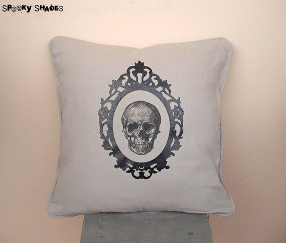 "Baroque Skull beige silk screen 16"" x 16"" throw pillow cover - skull cushion cover, decorative pillow, vintage pillow cover, anatomy pillow"