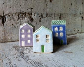 Tiny White House/ Miniature Terrarium Cottage/ Little Clay House