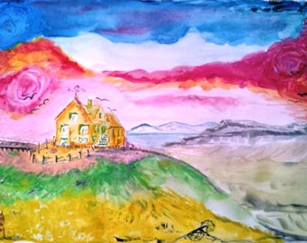 I dreamed my birthplace in Iceland Horgsholl. I grove up there ,I painted it...