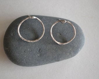 Sterling Silver Hoop Circle Stud Earrings Simple Modern Chic Sterling Silver Circle Stud Earrings Sterling Earrings