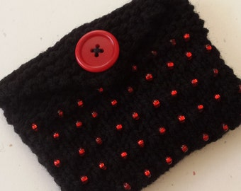 Beaded Knitted Mini Purse/ Black Hand Knitted With Red Glass Beads And Fabric Lined Wallet/ Business Cards,Credit Cards, Or Gift Card Holder