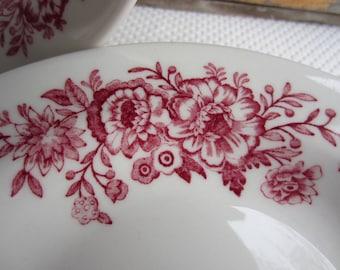 Vintage Homer Laughlin Best China Red Flower Transferware Restaurantware Bowls set of 4
