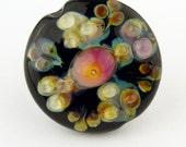 Lampwork Glass Bead  SRA  Black and Hot Pink Ornate Raku Lentil   'Fiori'