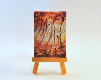 Fall colors - original painting on mini canvas