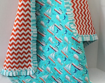 Michael Miller Swim Free Sailboats Baby Quilt Aqua Orange Baby Shower Gift Chevrons and Sailboats