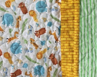 Lions Tigers Bears Baby Crib Quilt Yellow Blue White Green Gender Neutral Baby Shower Gift Baby Bedding