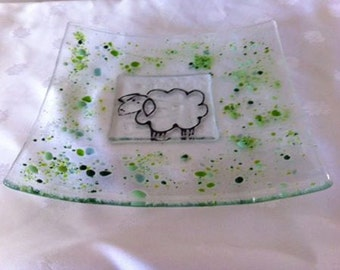 Clear Transparent  Fused Glass Serving Plate With a Cute Sheep Painted .