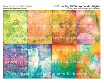 INSTANT DOWNLOAD Printable ATC Backgrounds #1201 Brights
