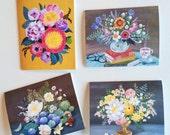 Four flower notecards