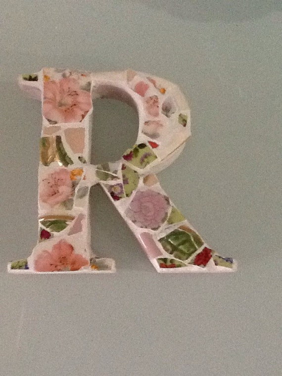 Items similar to Mosaic alphabet letter R, shabby chic, ooak on Etsy