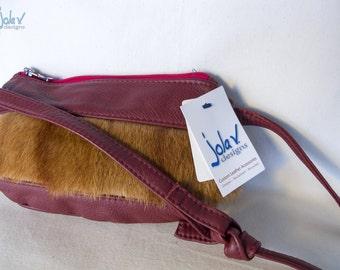 Clearance! Petit Fur Satchel Messenger Bag - leather, Recycled Fur, Adjustable strap, Zipper Closure