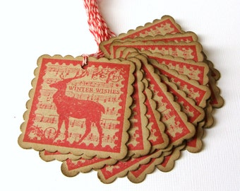 Christmas Gift Tags, Vintage Reindeer Tags, Rustic Christmas, Holiday Packaging, Gift Wrap, Reindeer, Deer, Woodland, Packaging, Gift Tags