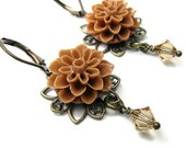 Victorian Style Caramel Swarovski Crystal Flower Dangle Earrings, Boho Chic Feminine Womens Fashion, Tan, Floral Jewelry, Flower Jewellery