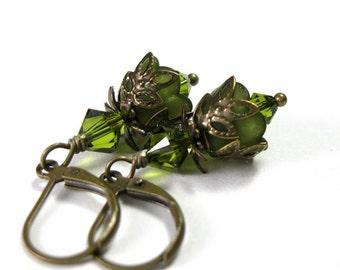 Flower Earrings, Vintage Style Olive Green Swarovski Lucite Flower Earrings, Olivine Jewelry, Botanical Woodland Gift, Jewelry Gift Ideas