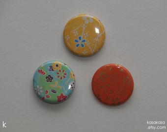 Gold and Flowers Origami Button or Magnet set of 3