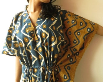Dark Blue Chevron Kaftan - Pajamas to live in, beachwear Caftan, spa robe..make great Anniversary or Birthday gifts, new mom Gift