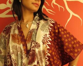 White Rust Leafy Kaftan Pajamas to live in beachwear Caftan, spa robe..make great Anniversary or Birthday gifts, new mom Gift