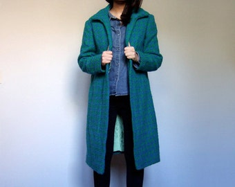 80s Bright Green Blue Winter Coat Women Bright Woven Houndstooth Coat - Large L