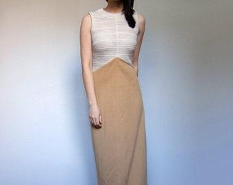 70s Ivory Beige Maxi Dress See Through Sleeveless Long Summer Dress Sundress - Extra Small XXS XS