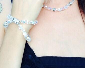 Swarovski crystal matching necklace and bracelet