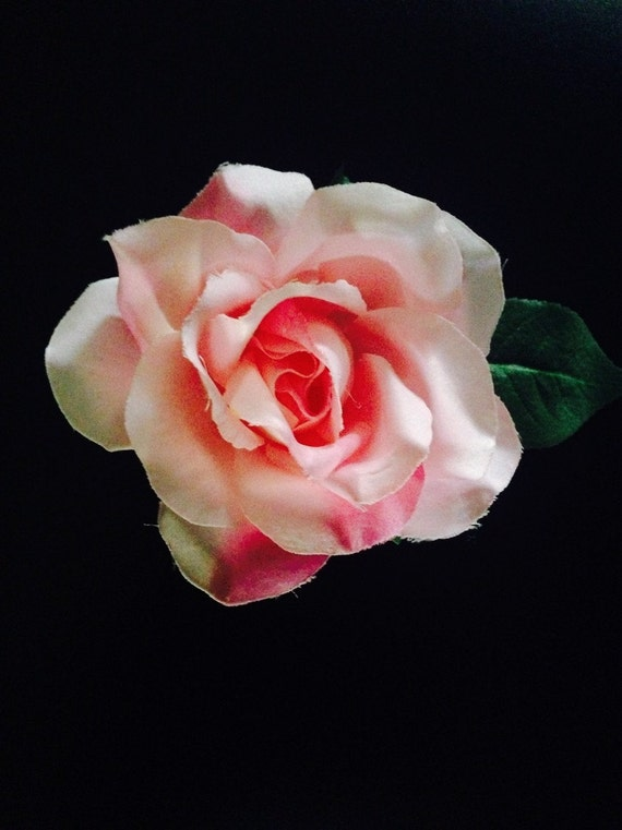 Large Beautiful Pink Silk Rose Flower Hair Clip