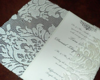 Beautiful, Vintage, Fancy Lace Invitation Booklet with layered wedding invitation and pearl closure