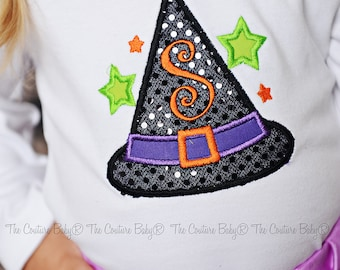 WITCHES Hat Sparkle Initial Personalized Halloween Shirt