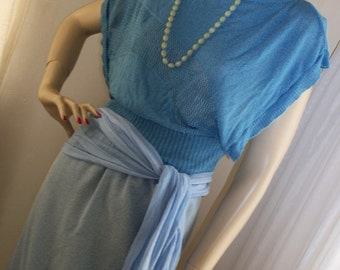 1920s 1930s Style Flapper Frock Blue Knit Dress Set Size M Orig Design