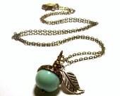 Peruvian Opal Acorn Necklace in Antique Brass