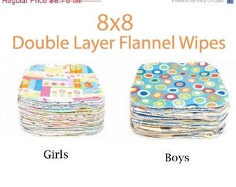 Clearance 8x8 Sweet Bobbins Cloth Wipes Starter Set of 12 wipes -  Double Layer Flannel  - 8x8