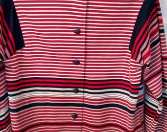 Jack Winter striped shirt polyester dress 60s 70s mod red black white modern London look