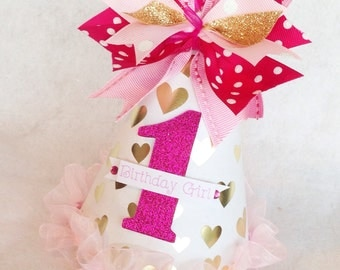Sparkling Gold Heart Valentine Birthday Party Hat with hot and light pink Ombre accents