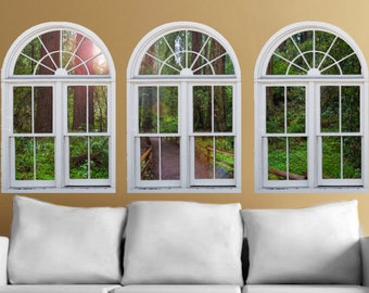 Wall mural windows, self adhesive- Muir Woods- window view-large 3 piece set-24x36 each panel - free US shipping