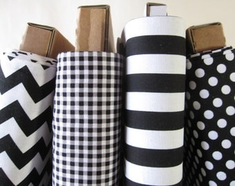Black and White Fabric Fat Quarter Bundle - FQ - Small Dots, Gingham, Chevrons, and Stripes - from Riley Blake Designs- 1 Yard Total