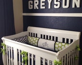 Navy and Lime Baby Boy bedding Crib set DEPOSIT ONLY