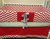 Red Chevron and GRay Dot Baby bedding Crib set DEPOSIT
