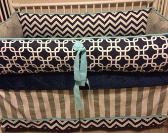 Navy Chevron  Gray and Turquoise Baby bedding Crib set Boy DEPOSIT ONLY
