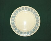 Corinthian 8 Inch Salad Plate by Taylor, Smith and Taylor, Taylorstone with Aqua and Grey Atomic Star Burst Pattern