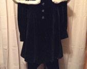 Hollywood 1930s Black Velvet w/ Ermine Fur Snow Suit 2PC