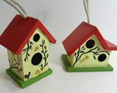 Folk Art Hand Painted Wooden Birdhouses