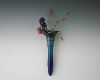 Wall Vase - Handblown Glass Wall Pocket- Lampwork Bud Vase- Boro