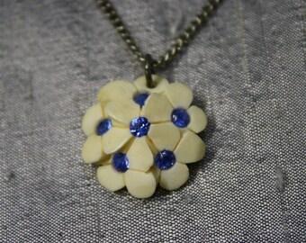 Vintage Carved Flowers with Blue Rhinestones