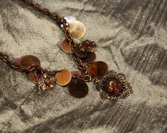 Vintage 1980's Sequin and Copper Tone Necklace