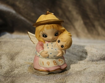Vintage 1985 Jody Bergsma Angel and Baby Ornament