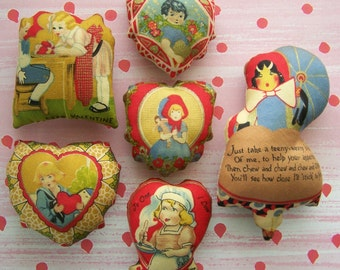 New Set of 6 Primitive Valentine Day Ornies Bowl Filler Tuck Pillow Shelf Sitter Love St. Valentine Non Candy Gift Present Mom Teacher